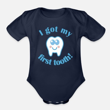 Banner 1st Tooth Baby Teeth - Organic Short Sleeve Baby Bodysuit