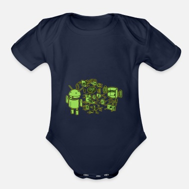 Exploding Android Exploded - Organic Short-Sleeved Baby Bodysuit