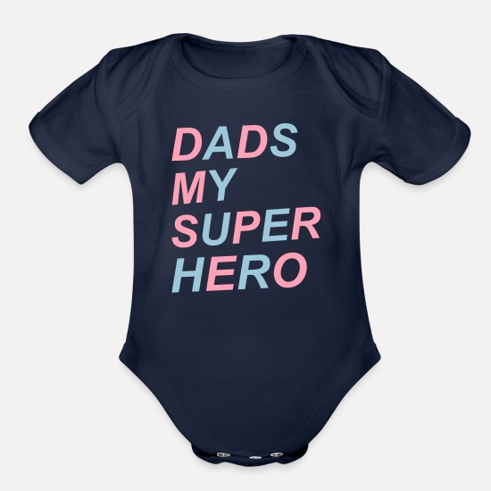 Boy Baby Clothing - Dad - Organic Short-Sleeved Baby Bodysuit dark navy