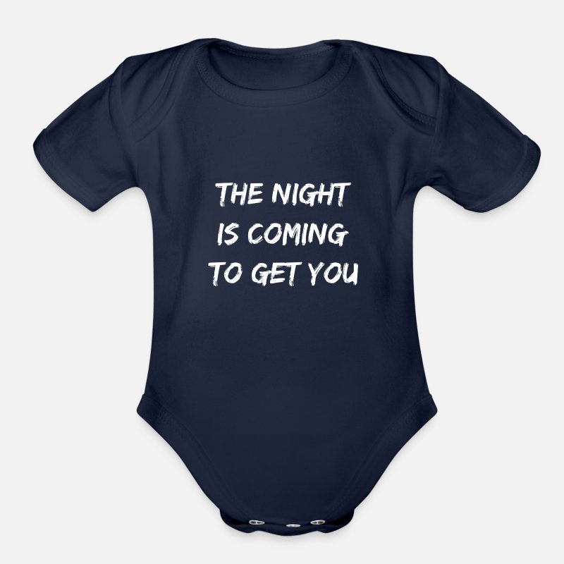 Mirror Baby Clothing - The Night Is Coming To Get You Halloween Design - Organic Short-Sleeved Baby Bodysuit dark navy