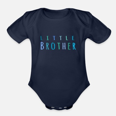 Siblings Little Brother in blue - Organic Short-Sleeved Baby Bodysuit