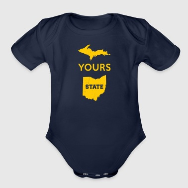 Upper Peninsula UP Yours State of Ohio Funny Anti OH pro Michigan - Organic Short Sleeve Baby Bodysuit