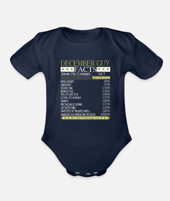 Legend Are December Baby One Pieces - December Guy Facts - Organic Short-Sleeved Baby Bodysuit dark navy