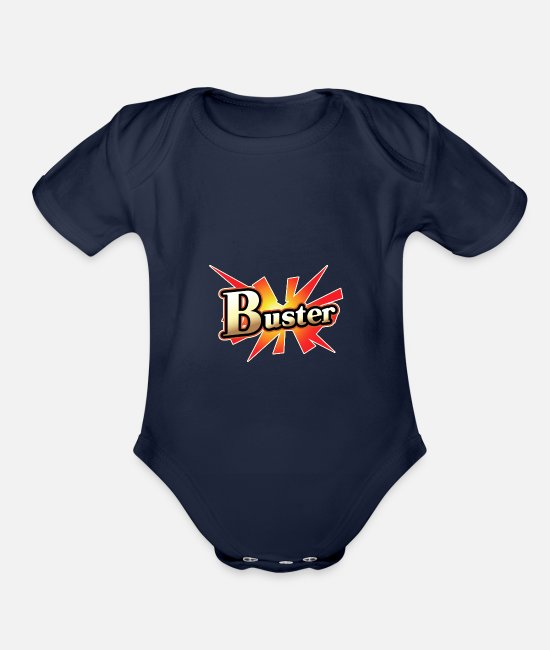 Fate Grand Baby One Pieces - Buster Card - Organic Short-Sleeved Baby Bodysuit dark navy