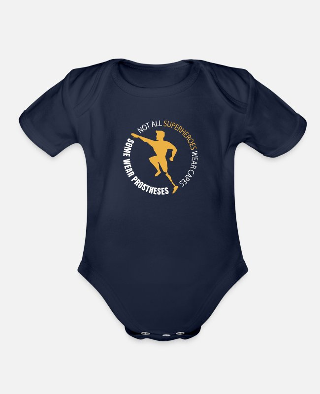 Handicap Baby One Pieces - Some Superheroes Wear Prostheses - Organic Short-Sleeved Baby Bodysuit dark navy