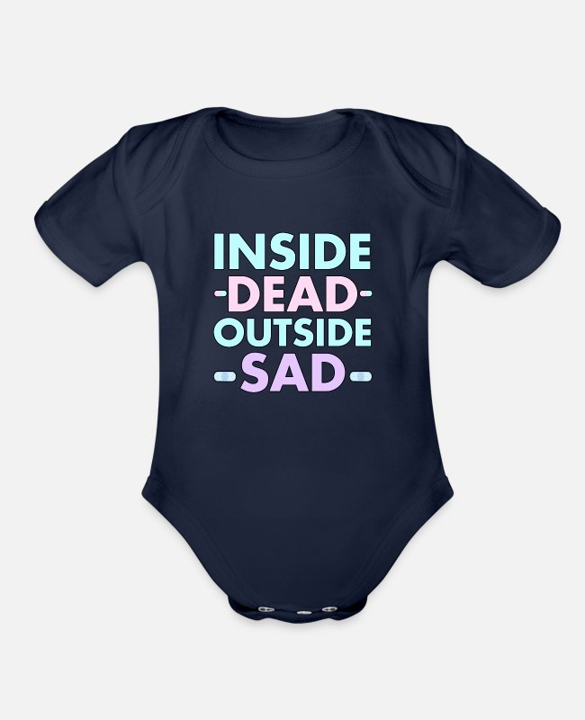 Aesthetic Baby One Pieces - Yami Kawaii Pastel Goth - Organic Short-Sleeved Baby Bodysuit dark navy