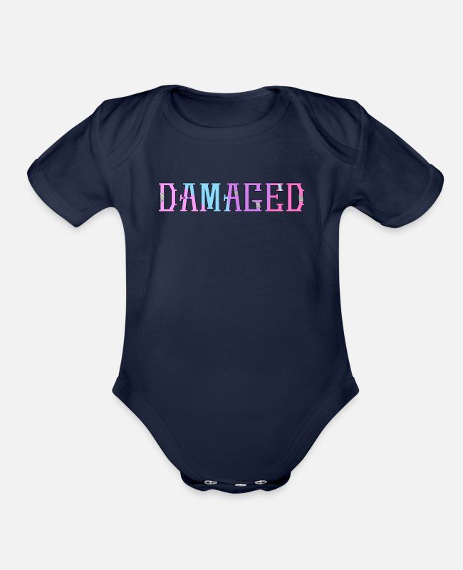 Vaporwave Baby One Pieces - Yami Kawaii Pastel Goth - Organic Short-Sleeved Baby Bodysuit dark navy