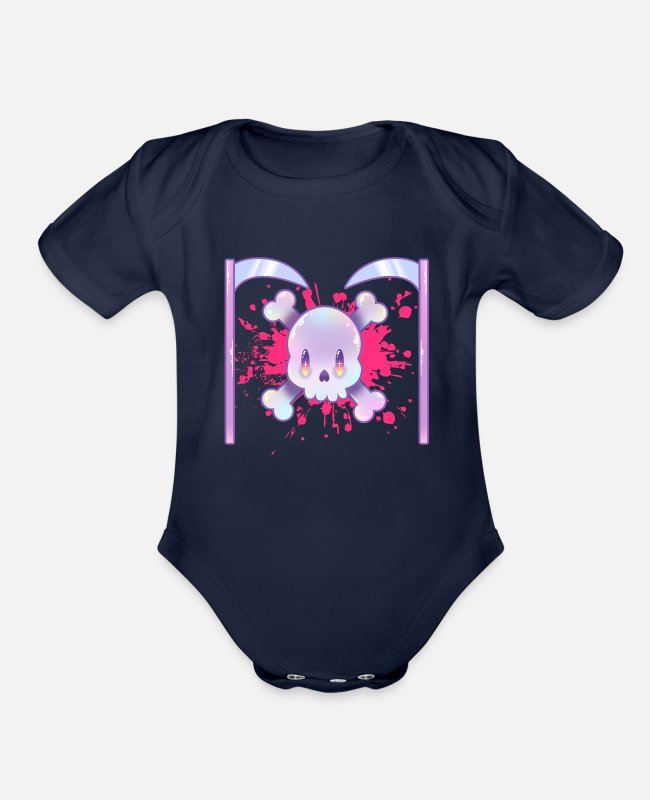 Aesthetic Baby One Pieces - Yami Kawaii Pastel Goth Skull and Scythe - Organic Short-Sleeved Baby Bodysuit dark navy