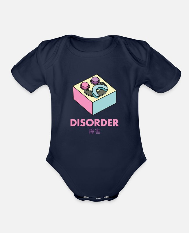 Aesthetic Baby One Pieces - Yami Kawaii Pastel Goth Disorder - Organic Short-Sleeved Baby Bodysuit dark navy