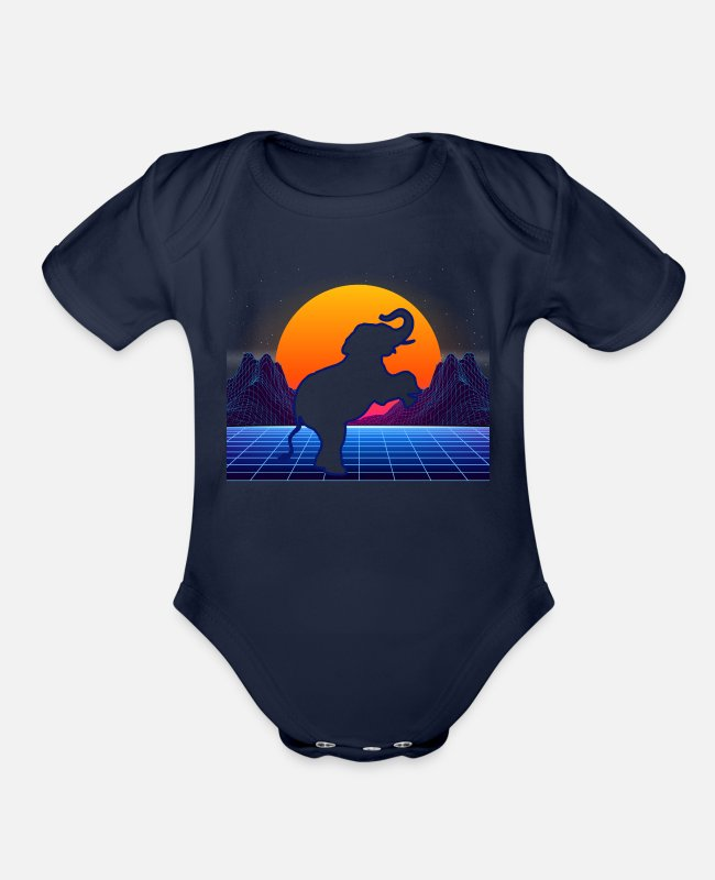 Futuristic Baby One Pieces - Elephant Retro Vintage Style Lover - Elephant Girl - Organic Short-Sleeved Baby Bodysuit dark navy