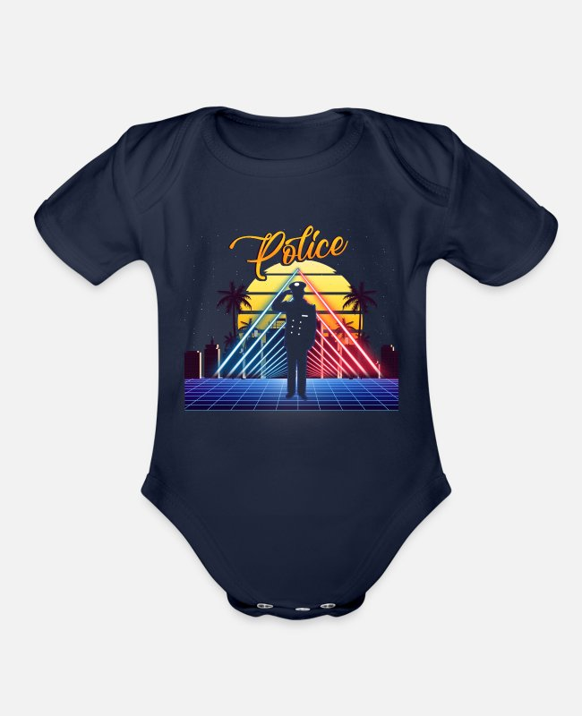 Futuristic Baby One Pieces - Policeman Retro Vintage Style Police Officer Gift - Organic Short-Sleeved Baby Bodysuit dark navy