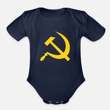 Fps Russia Yellow Hammer & Sickle - Organic Short-Sleeved Baby Bodysuit
