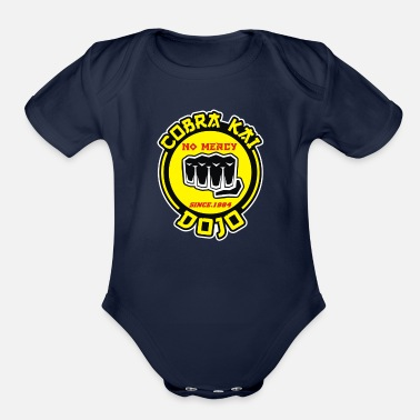 Strike Strike first strike hard no mercy - Organic Short Sleeve Baby Bodysuit
