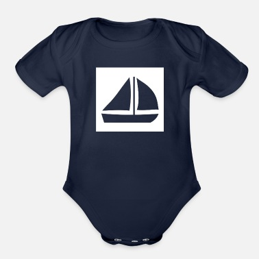 Sailing Boat Sail Boat with two sails - Organic Short Sleeve Baby Bodysuit