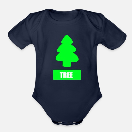 Plant Baby Clothing - TREE - Organic Short-Sleeved Baby Bodysuit dark navy