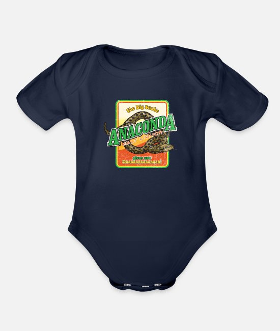 Black Dynamite Baby One Pieces - Anaconda Malt Liquor - Organic Short-Sleeved Baby Bodysuit dark navy