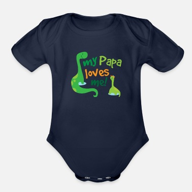 Papa Papa Loves Me Dinosaur - Organic Short-Sleeved Baby Bodysuit