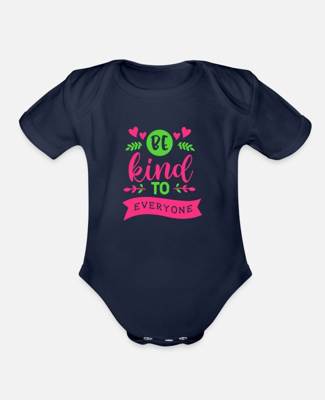 Everyone Baby One Pieces - Kindness Be Kind To Everyone - Organic Short-Sleeved Baby Bodysuit dark navy