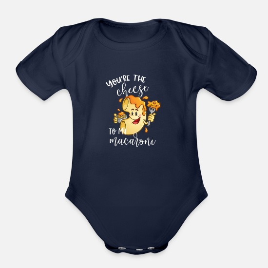Macaroni Baby Clothing - You're The Cheese to My Macaroni Matching Couple - Organic Short-Sleeved Baby Bodysuit dark navy
