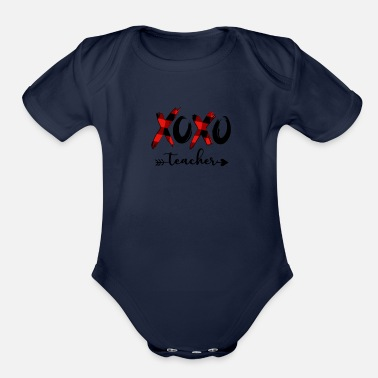 My Heart Teacher Valentine XOXO - Organic Short-Sleeved Baby Bodysuit