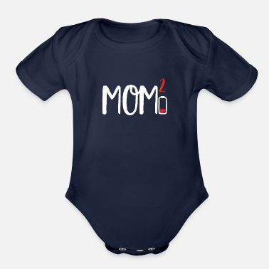 Siter Mom of Two 2 Squared design Low Battery Gift for - Organic Short-Sleeved Baby Bodysuit