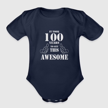 100th Birthday Get Awesome T Shirt Made in 1917 - Organic Short Sleeve Baby Bodysuit