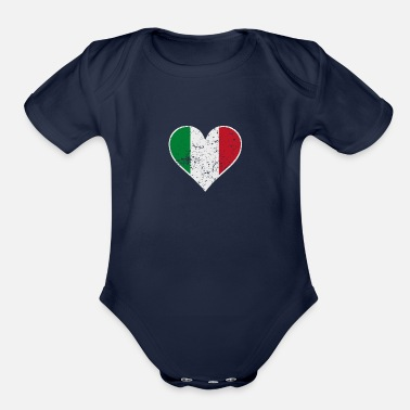 Italian Distressed Italian Flag Heart - Organic Short Sleeve Baby Bodysuit
