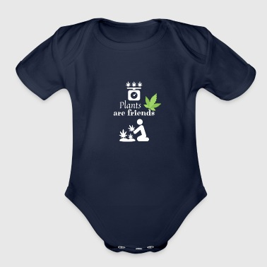 Plants are friends - Smoke Weed - Organic Short Sleeve Baby Bodysuit