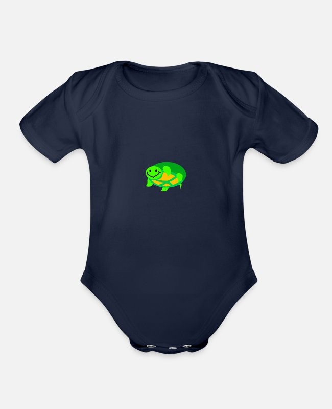 Tortuga Baby One Pieces - Turle - Organic Short-Sleeved Baby Bodysuit dark navy