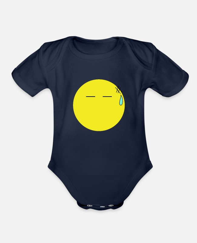 Emoticon Baby One Pieces - Frustrated Smiley - Organic Short-Sleeved Baby Bodysuit dark navy