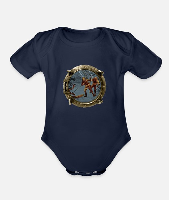 Vintage Diver Baby One Pieces - Porthole View of Vintage Helmet Divers and an Eel - Organic Short-Sleeved Baby Bodysuit dark navy