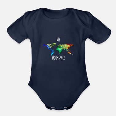 Workspace My workspace digital nomads colorful - Organic Short-Sleeved Baby Bodysuit