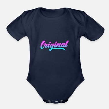 Motto Original text colorful - Organic Short Sleeve Baby Bodysuit