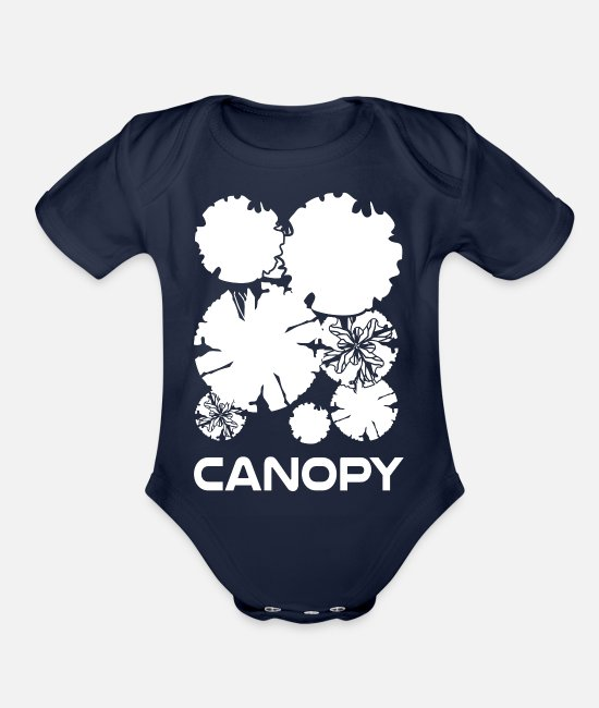 Nature Baby One Pieces - canopy wite - Organic Short-Sleeved Baby Bodysuit dark navy