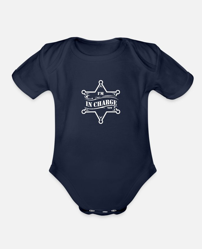 Boss Baby One Pieces - I'm in charge now - Organic Short-Sleeved Baby Bodysuit dark navy