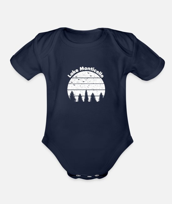 Boating Baby One Pieces - Lake Monticello - Organic Short-Sleeved Baby Bodysuit dark navy