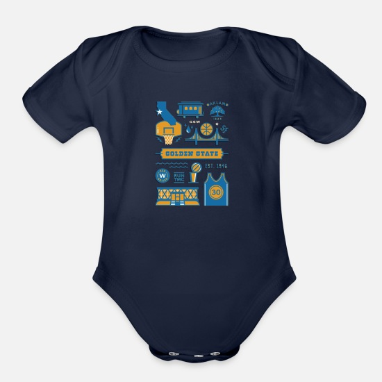 Shirtio Baby Clothing - Golden State Shirt for basketball Lovers - Organic Short-Sleeved Baby Bodysuit dark navy