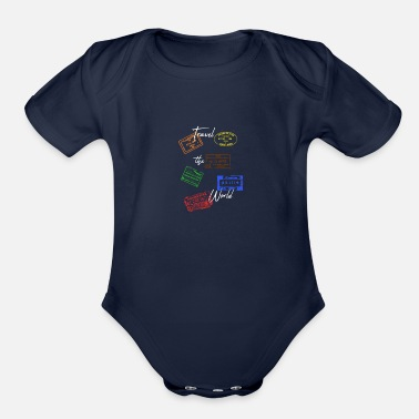 Travel Bug Travel Stamps passport - Organic Short-Sleeved Baby Bodysuit