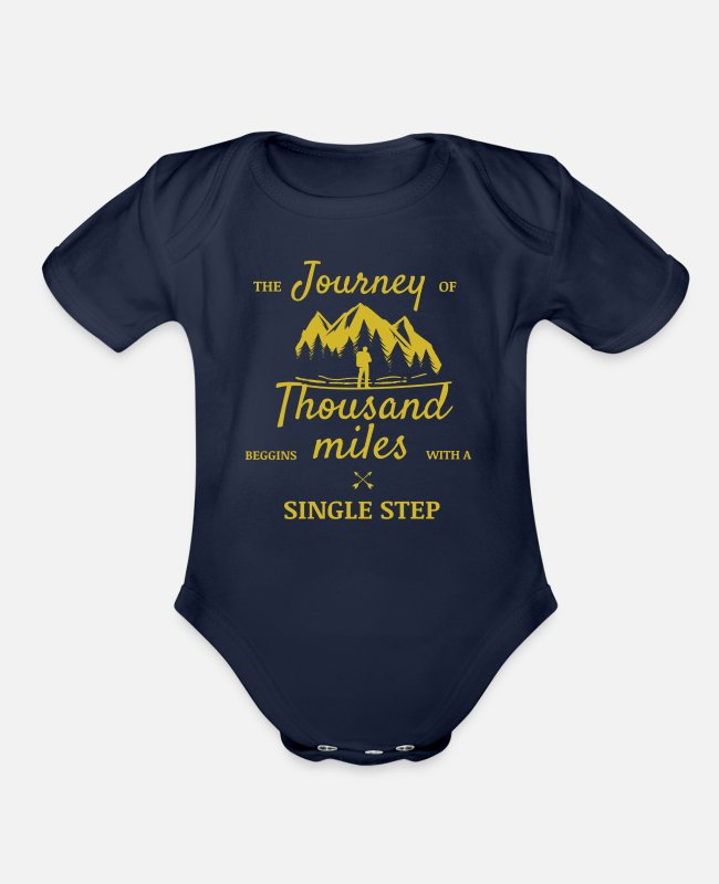 Miles Baby One Pieces - The Journey of Thousand Miles begins - Organic Short-Sleeved Baby Bodysuit dark navy