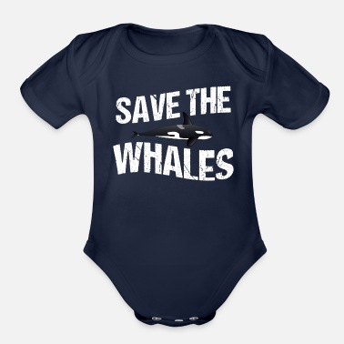 Save Save the Whales - Organic Short-Sleeved Baby Bodysuit