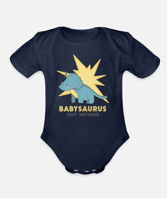 Babysaurus Baby Clothing - Babysaurus Just Hatched Boy - Organic Short-Sleeved Baby Bodysuit dark navy