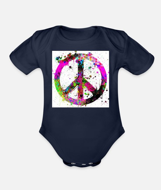 Heart Baby One Pieces - Peace - Organic Short-Sleeved Baby Bodysuit dark navy