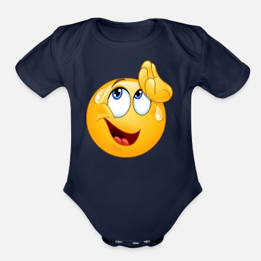 Wipe wiping sweat emoticon - Organic Short-Sleeved Baby Bodysuit