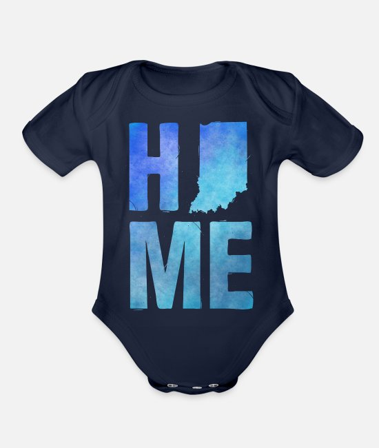 Art Baby One Pieces - Indiana - Home - Organic Short-Sleeved Baby Bodysuit dark navy