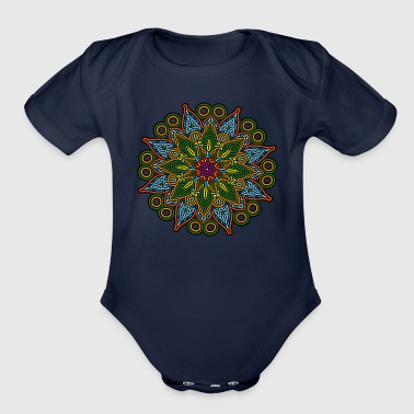 Mandala Meditation Art - Organic Short Sleeve Baby Bodysuit