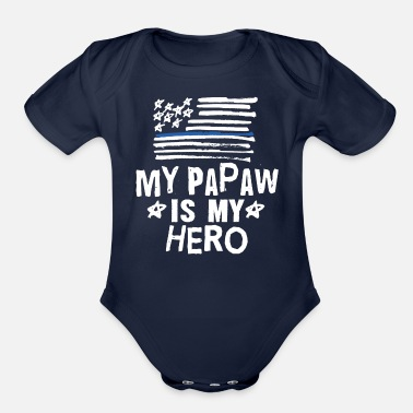 Baby Papaw Police Officer Blue Line Flag - Organic Short-Sleeved Baby Bodysuit