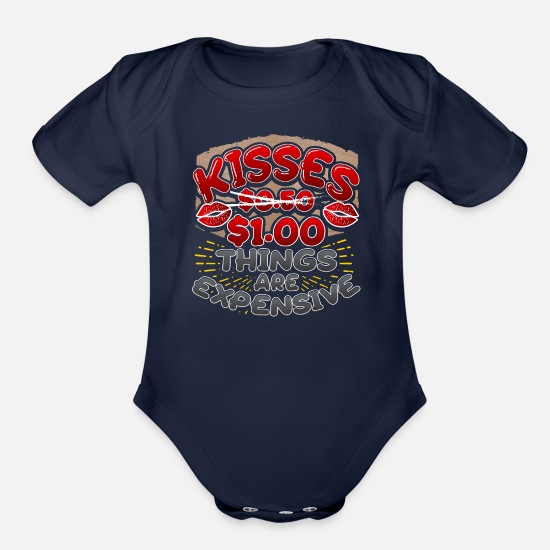 Quotes Baby Clothing - Valentines Day Funny Kisses Quote - Organic Short-Sleeved Baby Bodysuit dark navy