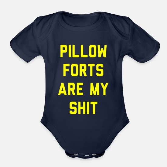 Birthday Baby Clothing - Pillow Forts Are My Shit - Organic Short-Sleeved Baby Bodysuit dark navy