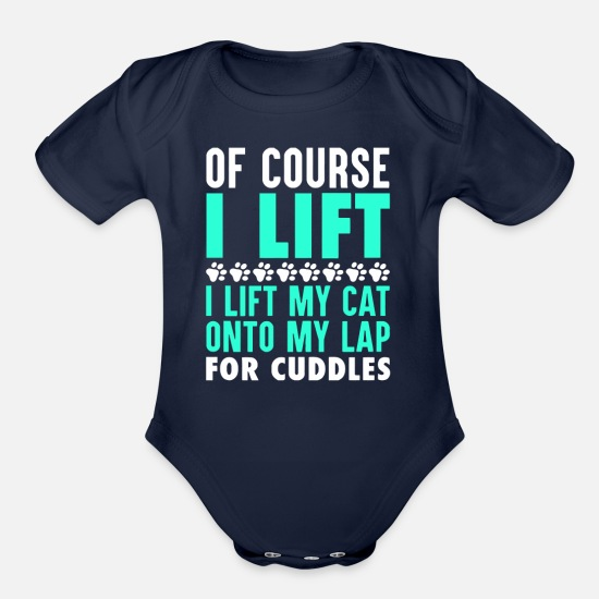Power Baby Clothing - Cat Cats Lift Lifting Fitness - Organic Short-Sleeved Baby Bodysuit dark navy
