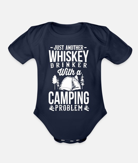 Movie Baby One Pieces - Whiskey and Camping - Organic Short-Sleeved Baby Bodysuit dark navy